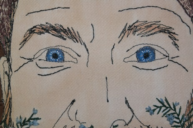 Portrait of a Green Man, detail of the eyes.