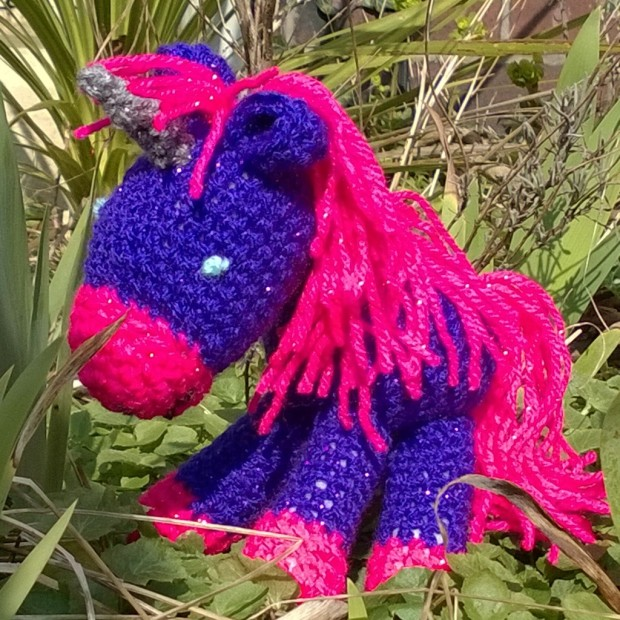 First crocheted unicorn, in sparkly wool.