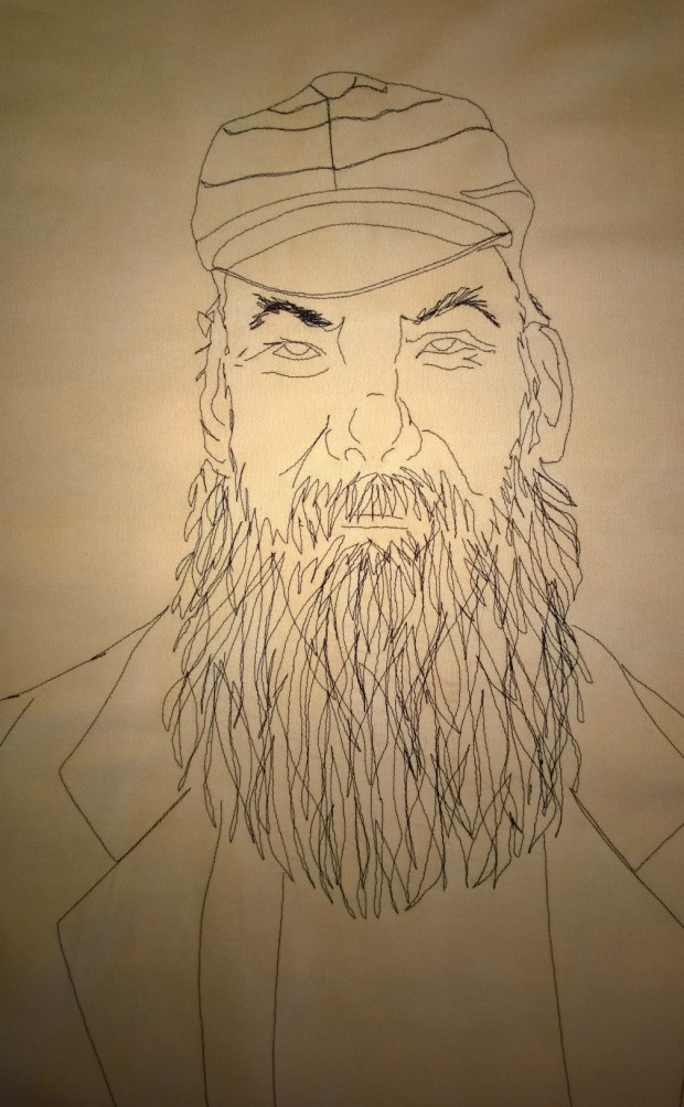 Stitched line drawing of W. G. Grace.